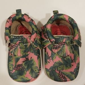 Freshly Picked Moccs - Pink/Green Palm Print